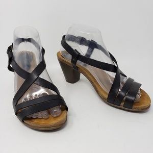 Miz Mooz Black Leather Strappy Sandals Heels